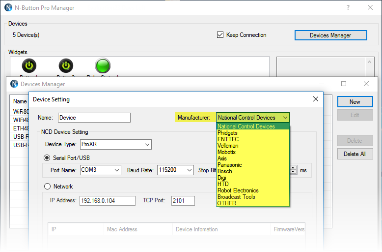 N-Button Pro Devices Manager